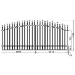Brána - oblouková, dvoukřídlová 350 cm x 155 cm