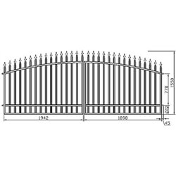 Brána - oblouková, dvoukřídlová 400 cm x 155 cm