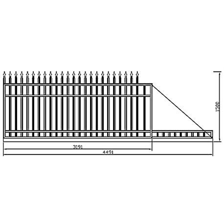 300 cm x 155 cm brána rovná se špičkami posuvná