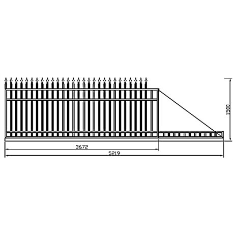 350 cm x 155 cm brána rovná se špičkami posuvná