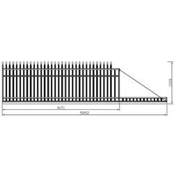 400 cm x 155 cm brána rovná se špičkami posuvná